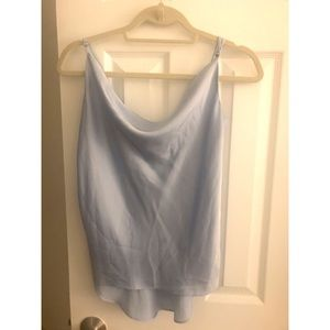 Sky blue draped front spaghetti strapped top